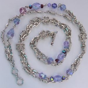 Kirks Folly Silver Tone and Crystal Necklace Toggl